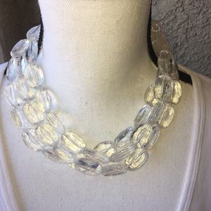 Triple Strand Clear Lucite Necklace